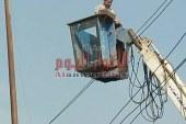 """استمرار اعمال صيانة وانارة الكهرباء علي طريق """" كفر حمزة – شبين القناطر """""""