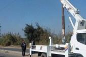 كهرباء القليوبيةتقوم بعمل صيانةللأعمدة  بطريق السنترال الشريف حتي طريق المعسكر للقوات الامن
