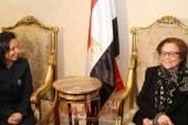 """بالصور..رئيسة المجلس القومي للمرأة تستقبل المناضلة الجزائرية """"جميلة بو حيرد"""""""